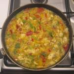 Riz sauce curry poulet